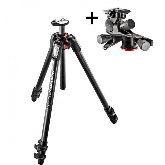 Manfrotto NEW 055 Carbon fibre 3-Section tripod and 3 Way Geared head bundle