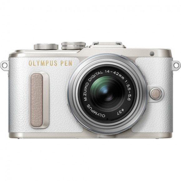 Olympus PEN E-PL8 Mirrorless Digital Camera with 14-42mm Lens (White) Includes FREE Manfrotto Pixi (Red) and 32GB Kingston Memory Card