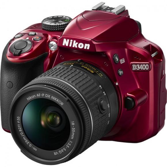 Nikon D3400 DSLR Camera with 18-55mm VR Lens (RED)