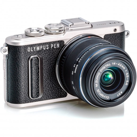 Olympus PEN E-PL8 Mirrorless Digital Camera with 14-42mm (Black) Includes FREE Manfrotto Pixi (Red) and 32GB Kingston Memory Card