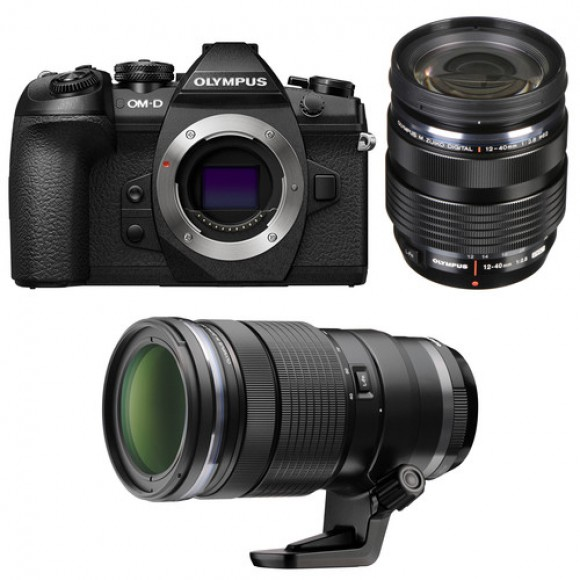 Olympus OM-D E-M1 Mark II Mirrorless Micro Four Thirds Digital Camera with 12-40mm and 40-150mm Lenses Kit €200 Cashback Available