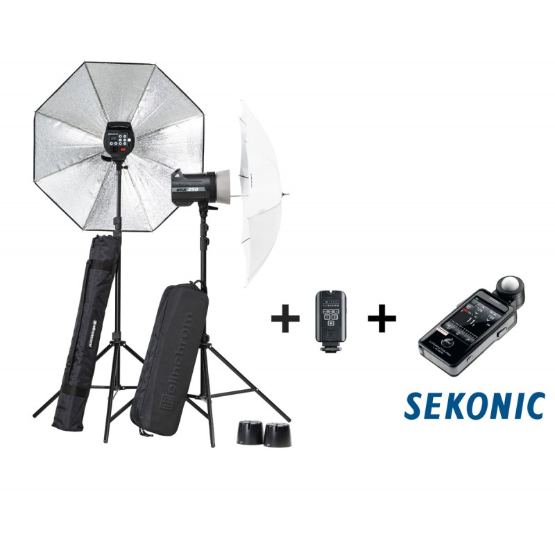 Elinchrom 500 Studio Lighting Kit: Elinchrom BRX 500/500 Softbox To Go Kit With Sekonic 478