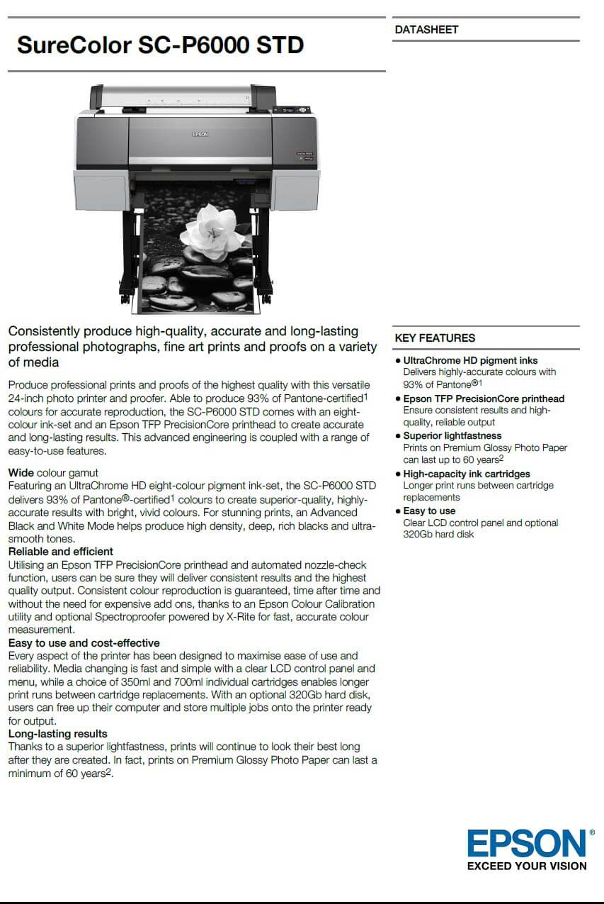 Epson SureColor SC-P6000 Standard 24 Inch Printer with 3 Year Extended  Warranty
